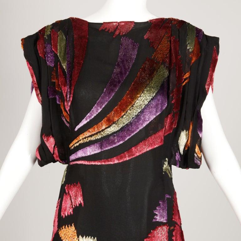 Museum Quality 1970s Pauline Trigere Vintage Black Silk Evening Gown/ Dress For Sale 2
