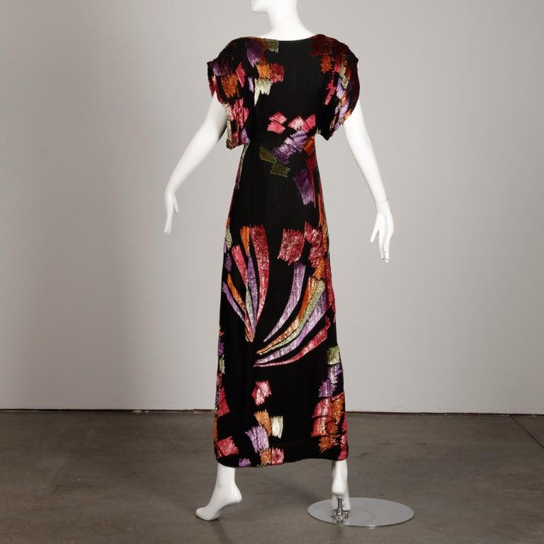 Museum Quality 1970s Pauline Trigere Vintage Black Silk Evening Gown/ Dress For Sale 3