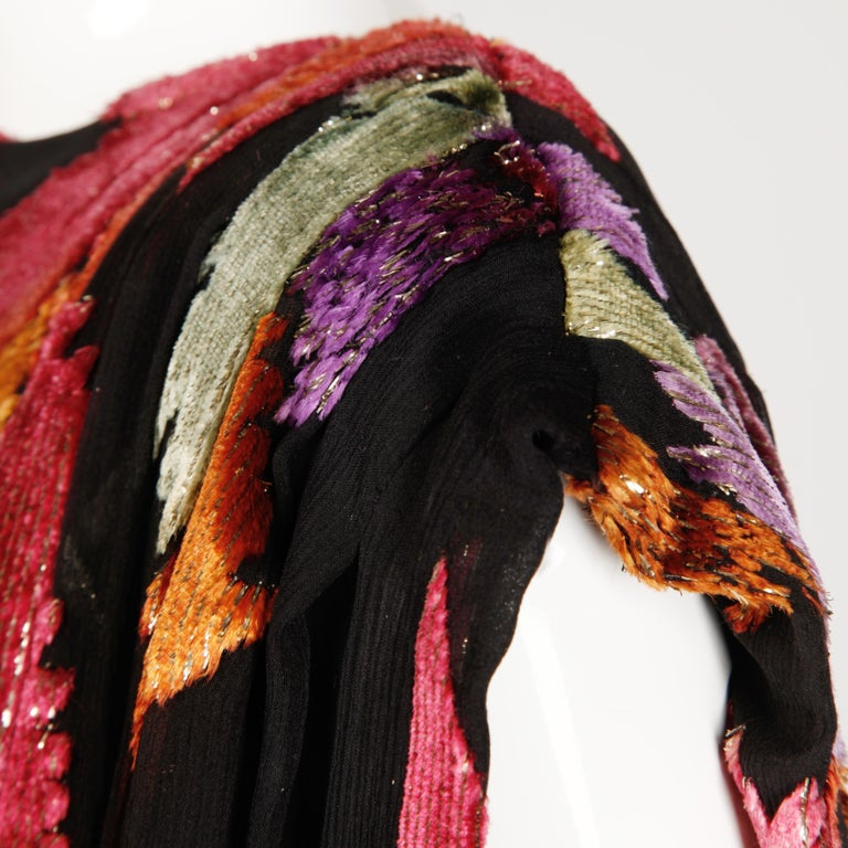 Museum Quality 1970s Pauline Trigere Vintage Black Silk Evening Gown/ Dress For Sale 4