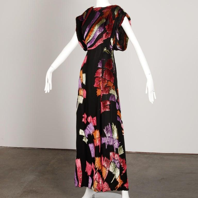 Museum Quality 1970s Pauline Trigere Vintage Black Silk Evening Gown/ Dress For Sale 5