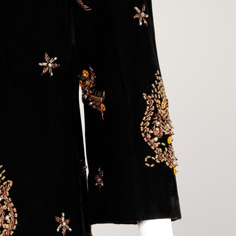 Women's 1960s Vintage Black Velvet Evening Gown Dress with Metallic Beaded Embellishment For Sale