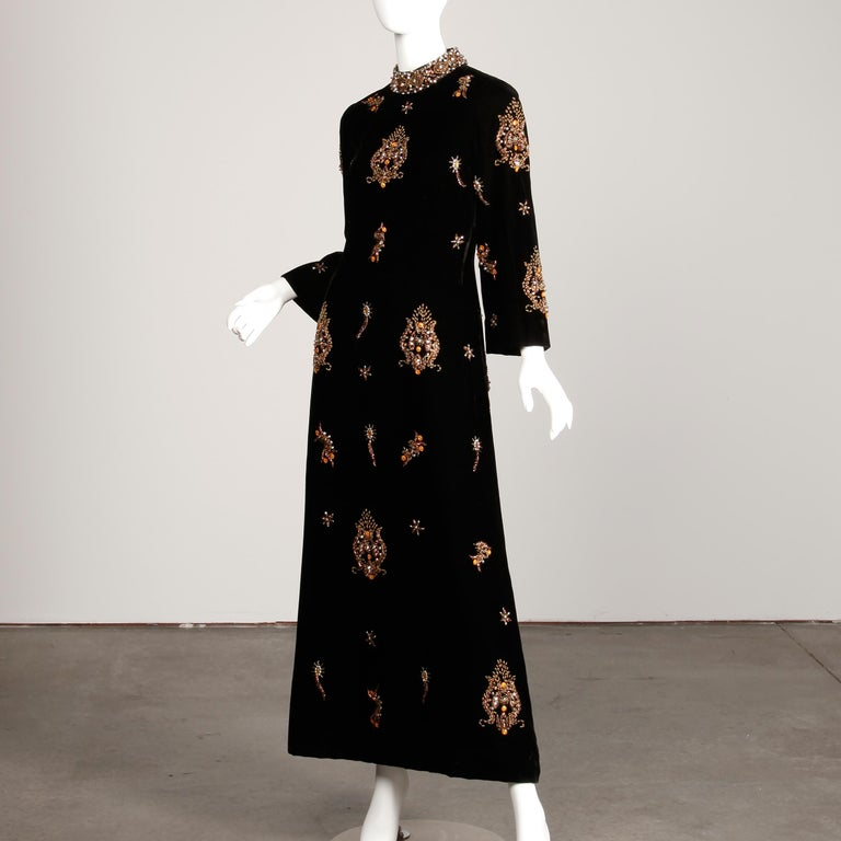 1960s Vintage Black Velvet Evening Gown Dress with Metallic Beaded Embellishment For Sale 1