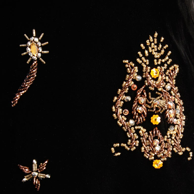 1960s Vintage Black Velvet Evening Gown Dress with Metallic Beaded Embellishment For Sale 2