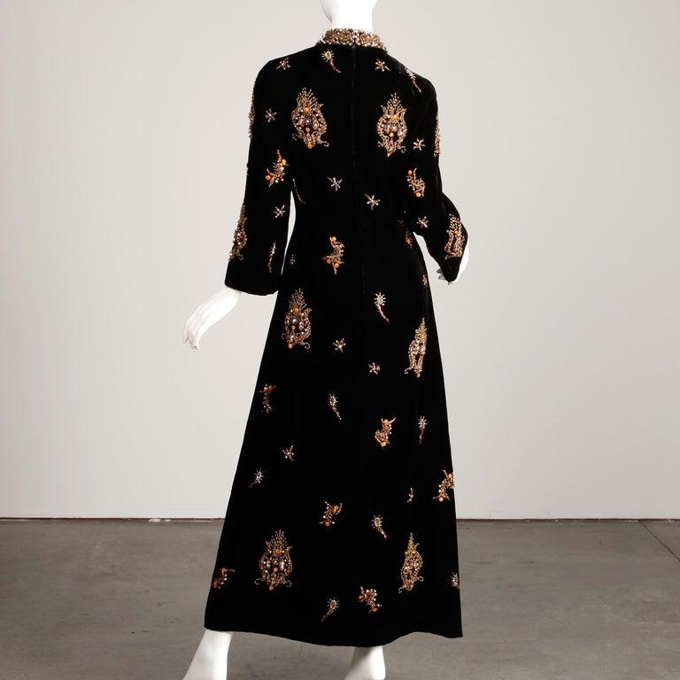 1960s Vintage Black Velvet Evening Gown Dress with Metallic Beaded Embellishment For Sale 3