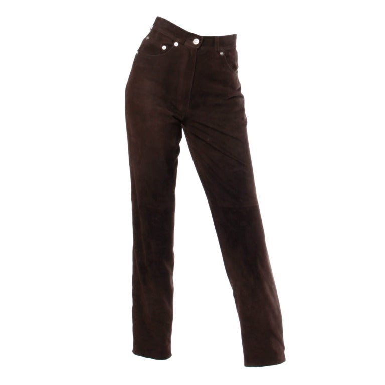1990s Gucci Vintage Brown Suede Leather High Waisted Pants