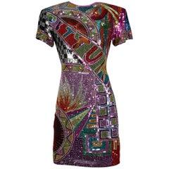 1980s Naeem Khan Vintage Heavily Beaded + Metallic Sequin Sparkling Silk Dress