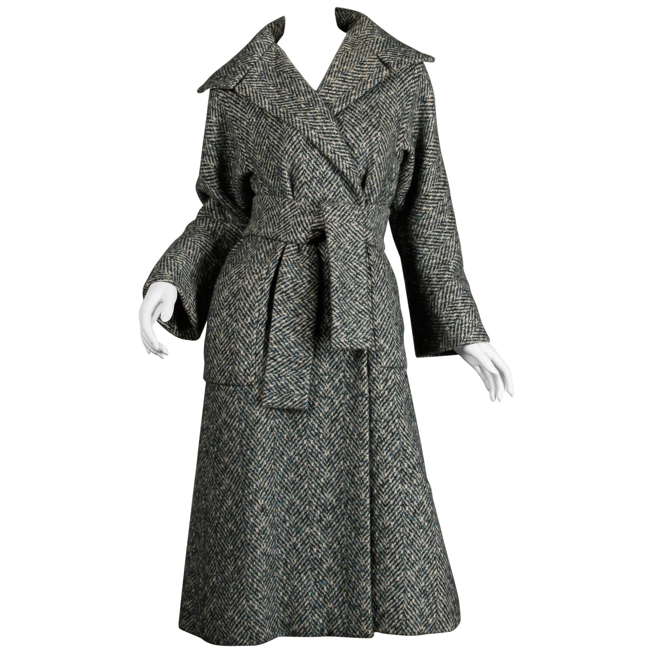 1970s Pauline Trigere Vintage Herringbone Heavy Wool Belted Coat