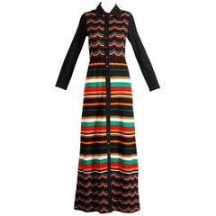 Ian Peters 1970s Vintage 100% Wool Chevron Striped Rainbow Knit Maxi Dress