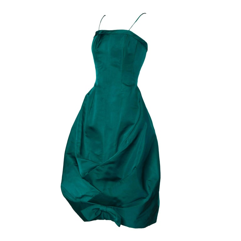 Blue 1950s Suzy Perette Vintage Green Silk Cocktail Dress with an Origami Bubble Hem For Sale