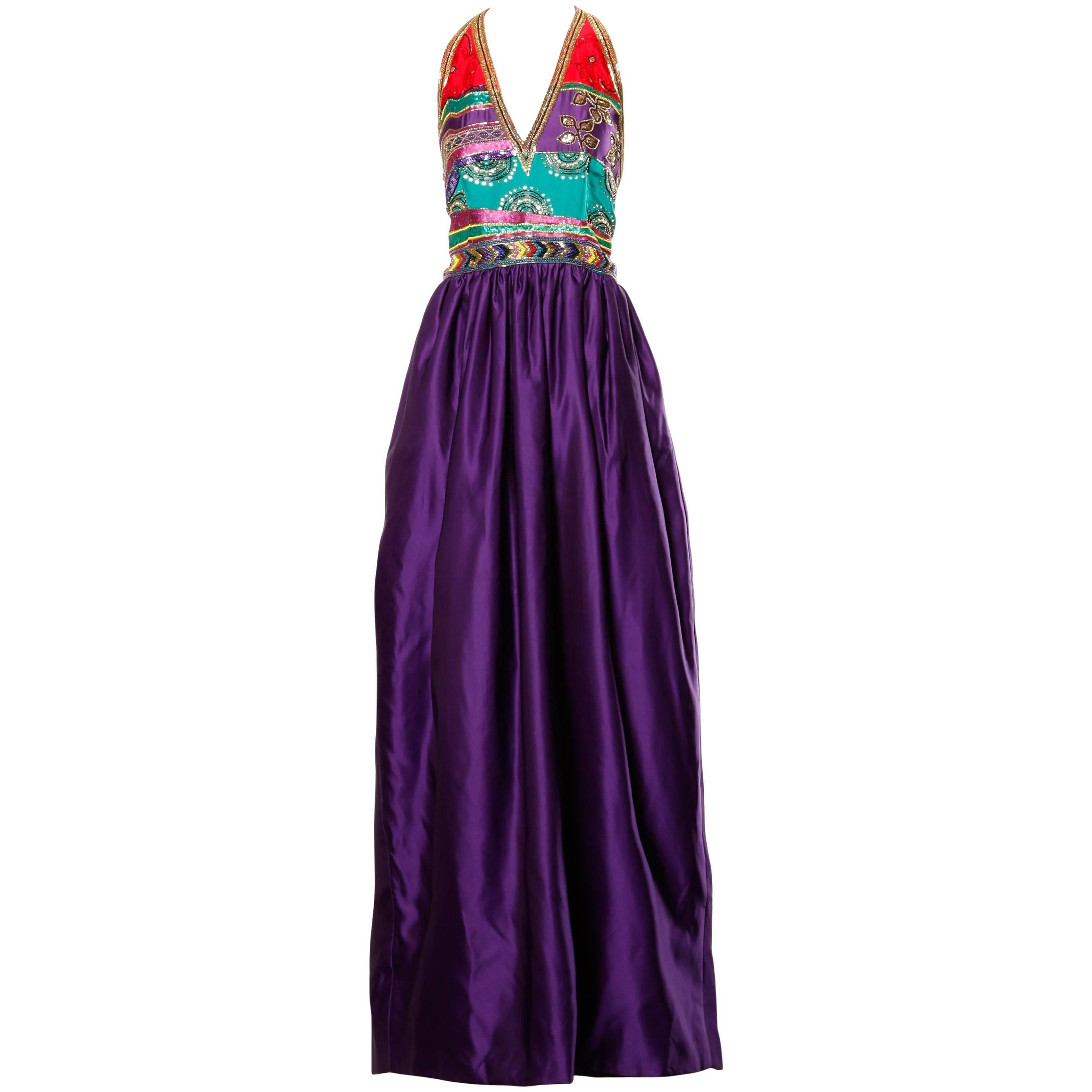 1970s Silk Satin Evening Gown with Beaded + Sequin Plunging Neckline