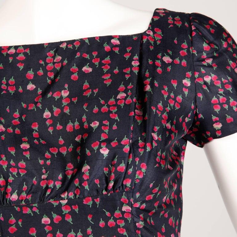 Women's 1960s Vintage Floral Print Silk Sheath Dress and Coat 2-Piece Ensemble For Sale