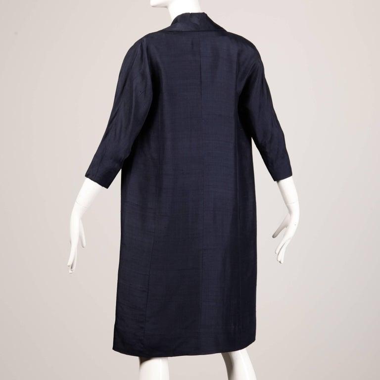 1960s Vintage Floral Print Silk Sheath Dress and Coat 2-Piece Ensemble For Sale 1