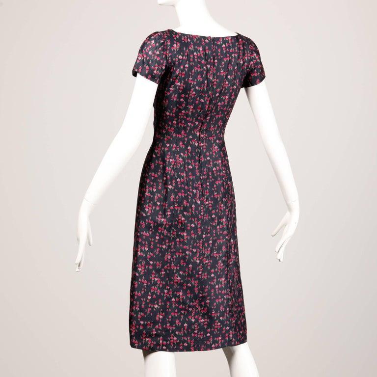 1960s Vintage Floral Print Silk Sheath Dress and Coat 2-Piece Ensemble For Sale 2