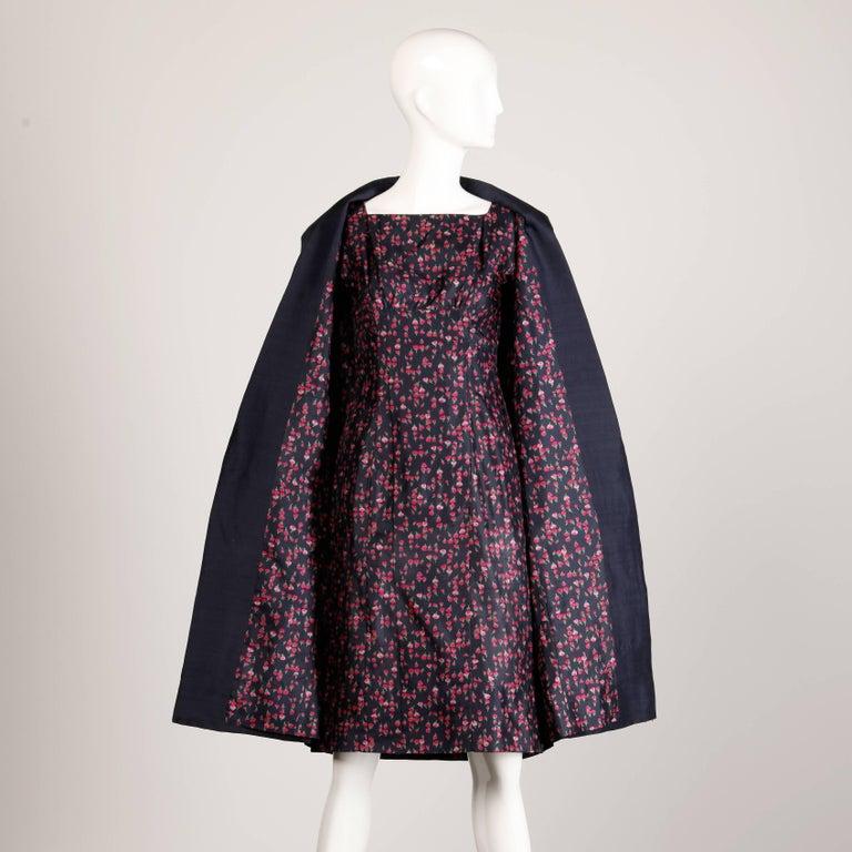1960s Vintage Floral Print Silk Sheath Dress and Coat 2-Piece Ensemble For Sale 4