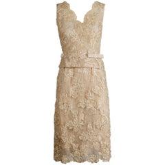 1960s Vintage Cream/ Off White Silk Soutache Lace Top/ Skirt Ensemble or Dress