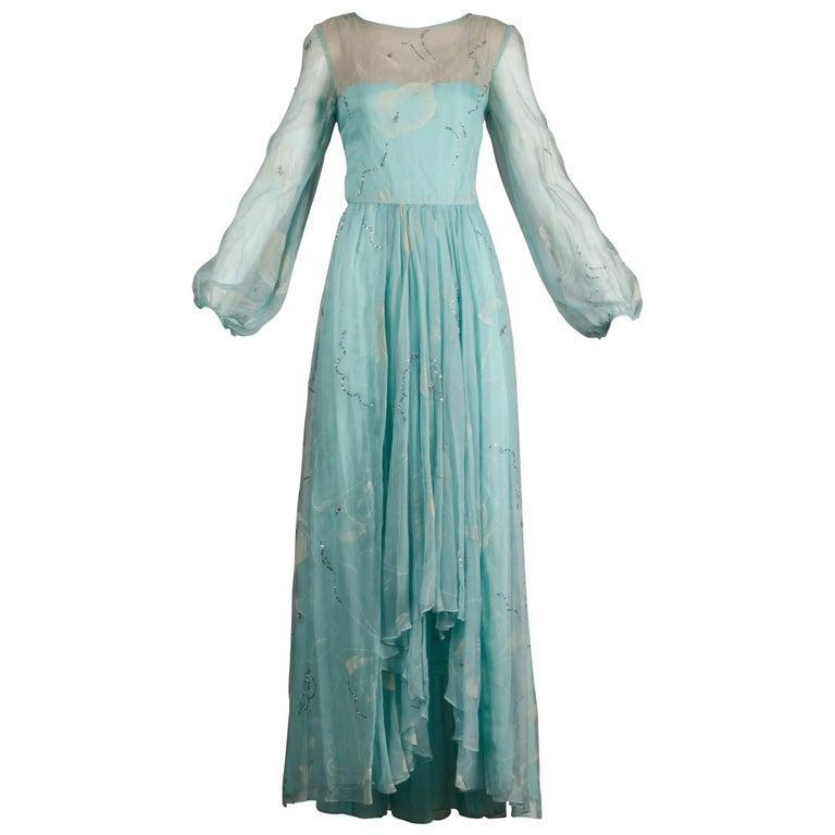 Unworn 1970s Richilene Vintage Blue Silk Chiffon + Metallic Silver Dress For Sale