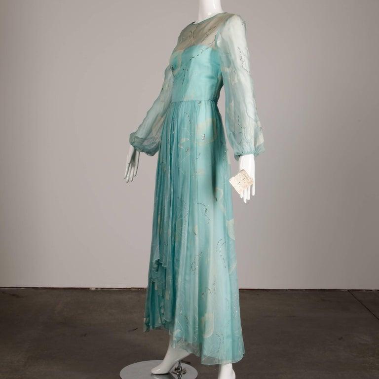 Unworn 1970s Richilene Vintage Blue Silk Chiffon + Metallic Silver Dress In New Condition For Sale In Sparks, NV