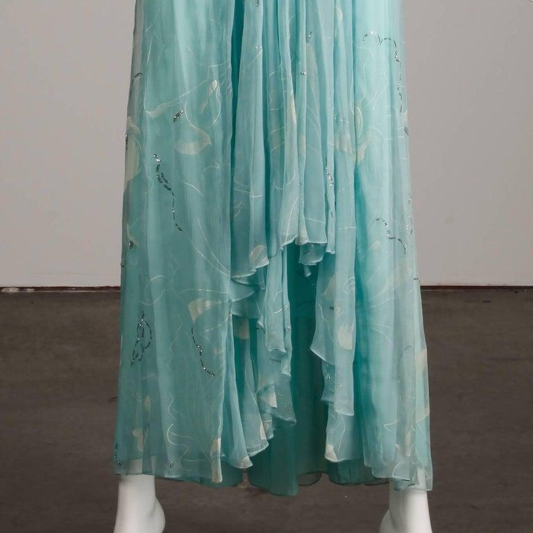 Women's Unworn 1970s Richilene Vintage Blue Silk Chiffon + Metallic Silver Dress For Sale