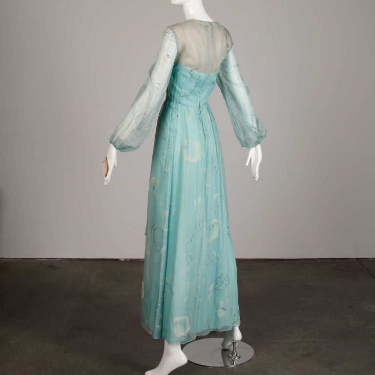 Unworn 1970s Richilene Vintage Blue Silk Chiffon + Metallic Silver Dress For Sale 1