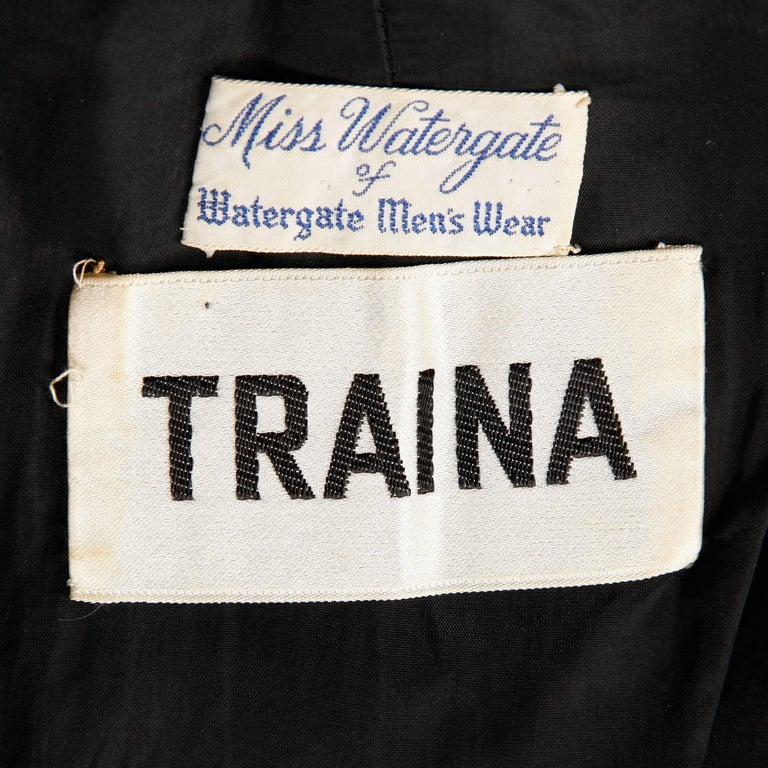 Black 1960s Teal Traina Vintage Knit Mod Zig Zag Sweater Dress For Sale