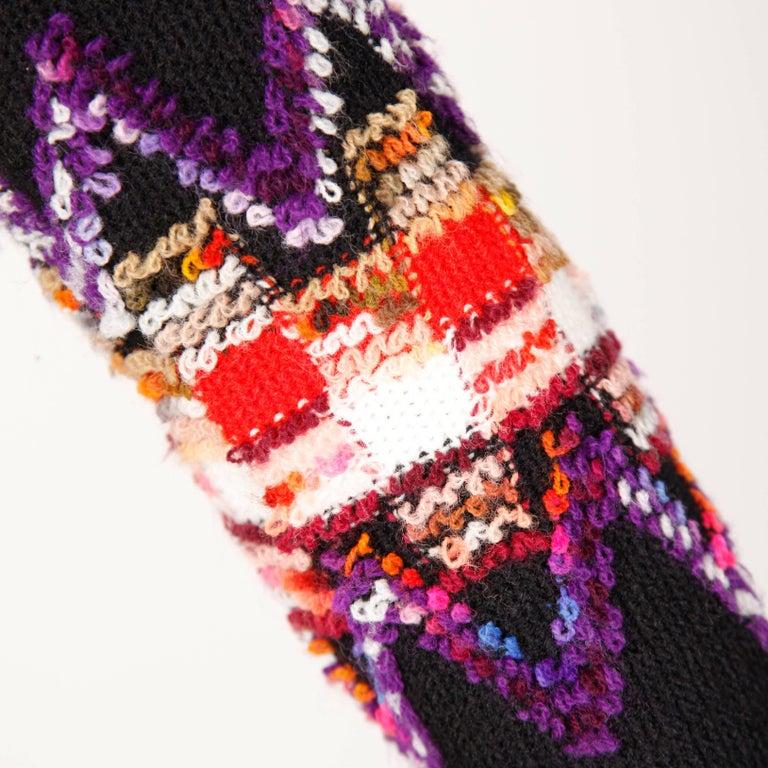 Women's 1960s Teal Traina Vintage Knit Mod Zig Zag Sweater Dress For Sale