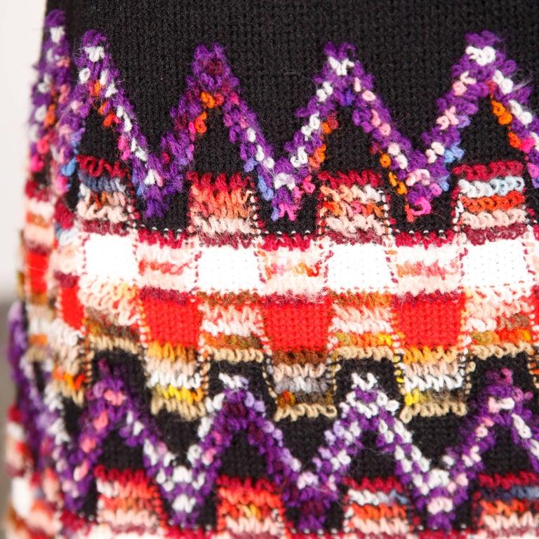 1960s Teal Traina Vintage Knit Mod Zig Zag Sweater Dress For Sale 1