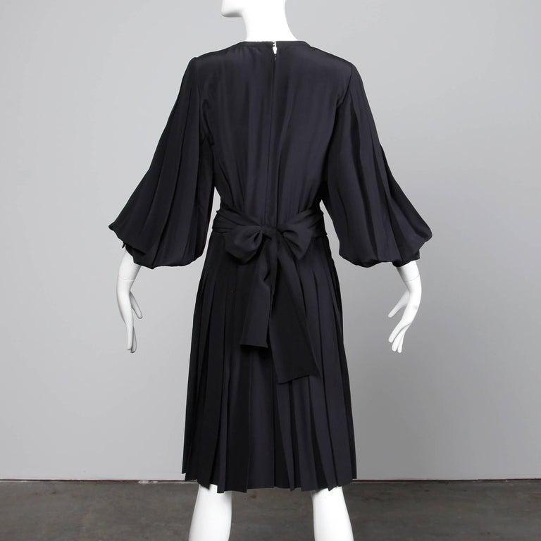 1980s Andre Laug Vintage Black Silk Dress with Matching Sash Belt For Sale 1