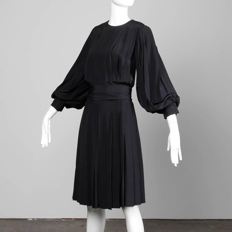 Women's 1980s Andre Laug Vintage Black Silk Dress with Matching Sash Belt For Sale