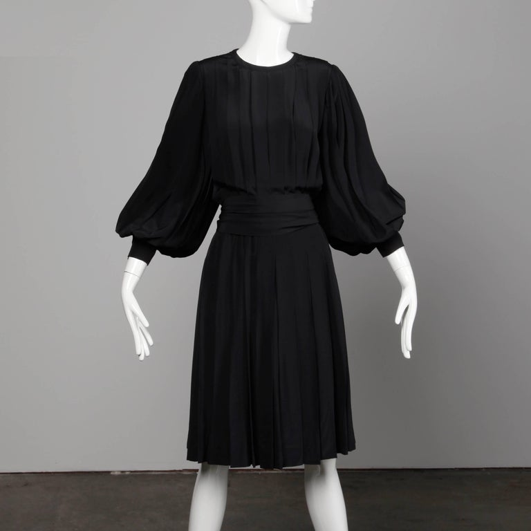 1980s Andre Laug Vintage Black Silk Dress with Matching Sash Belt In Excellent Condition For Sale In Sparks, NV