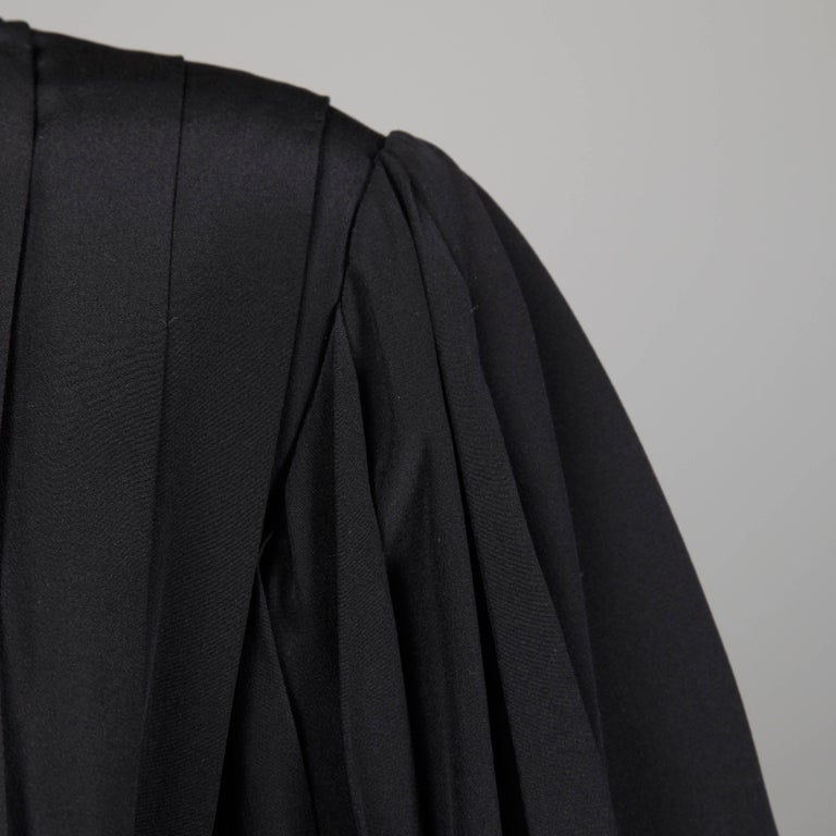 1980s Andre Laug Vintage Black Silk Dress with Matching Sash Belt For Sale 4