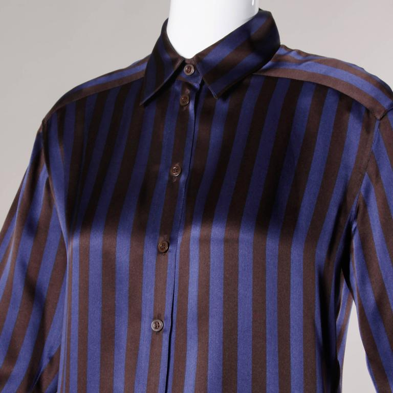 Escada by Margaretha Ley Vintage Striped Silk Button Up Blouse 2