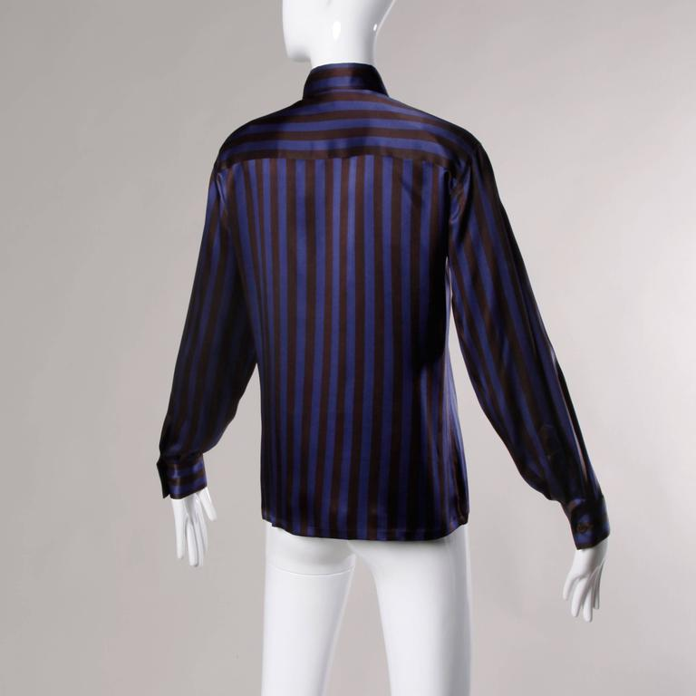Escada by Margaretha Ley Vintage Striped Silk Button Up Blouse 3