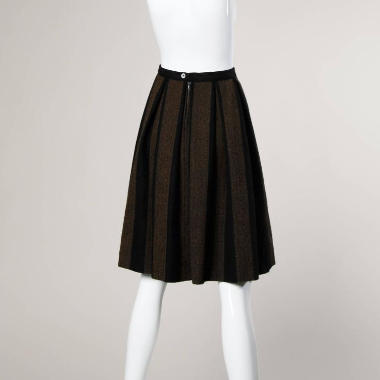 1960s Vintage Brown + Black Soft Woven Wool Skirt with Box Pleats 3