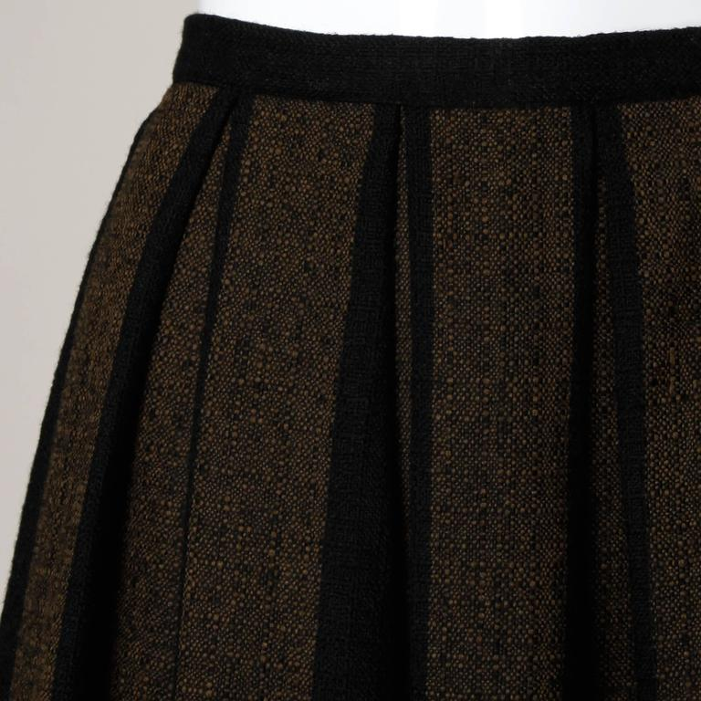 1960s Vintage Brown + Black Soft Woven Wool Skirt with Box Pleats 4