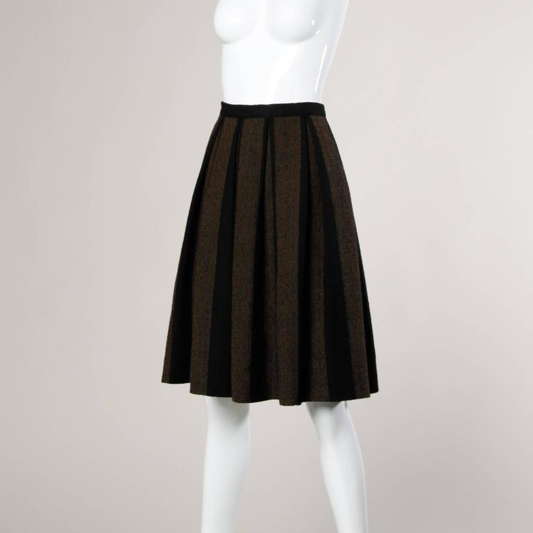 1960s Vintage Brown + Black Soft Woven Wool Skirt with Box Pleats 5