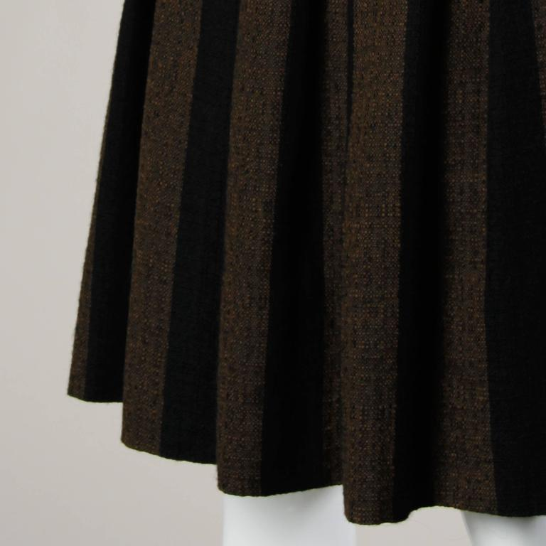 1960s Vintage Brown + Black Soft Woven Wool Skirt with Box Pleats 2
