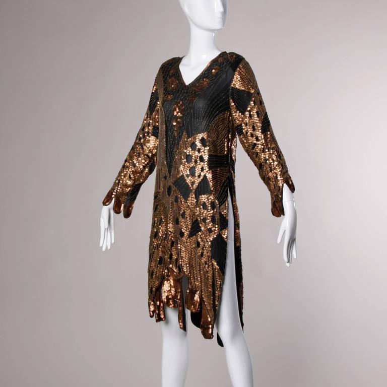 Unworn Vintage Metallic Sequin + Beaded Silk Flapper Dress with Original Tags For Sale 4