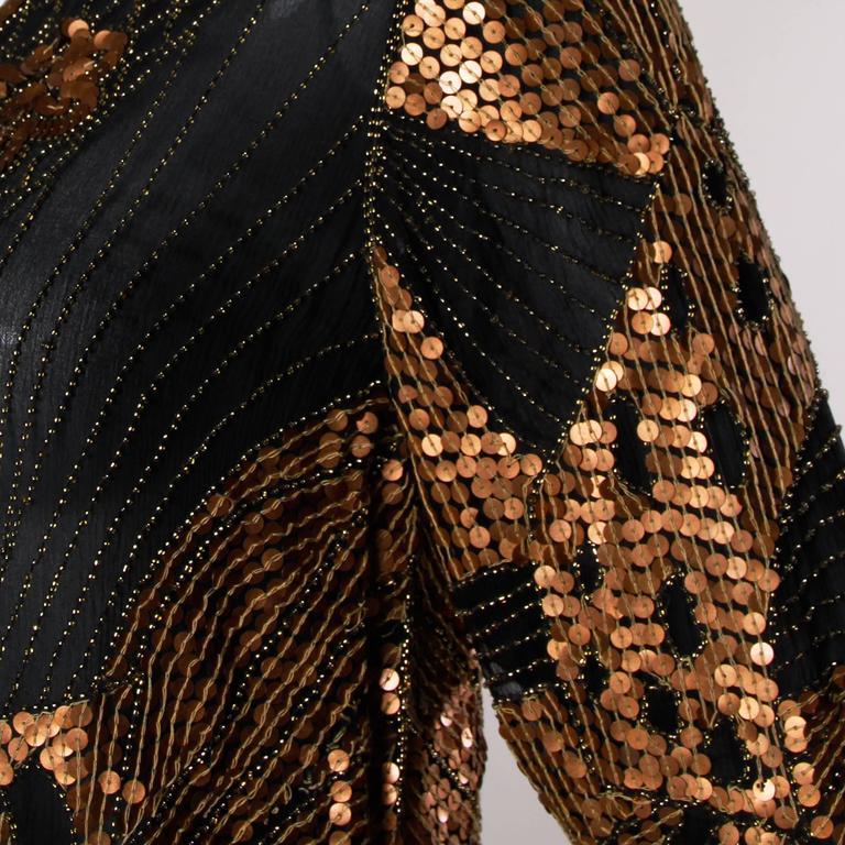 Unworn Vintage Metallic Sequin + Beaded Silk Flapper Dress with Original Tags For Sale 1