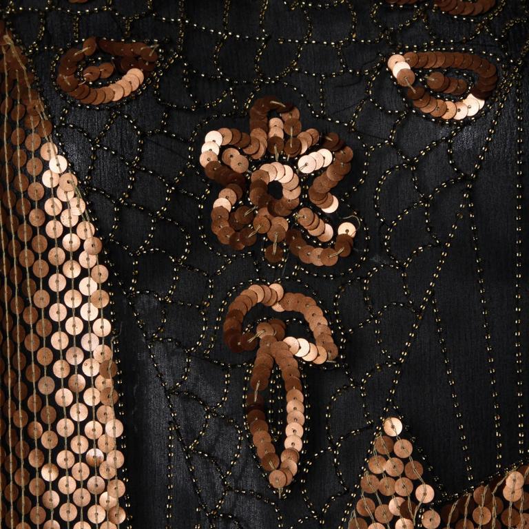 Women's Unworn Vintage Metallic Sequin + Beaded Silk Flapper Dress with Original Tags For Sale