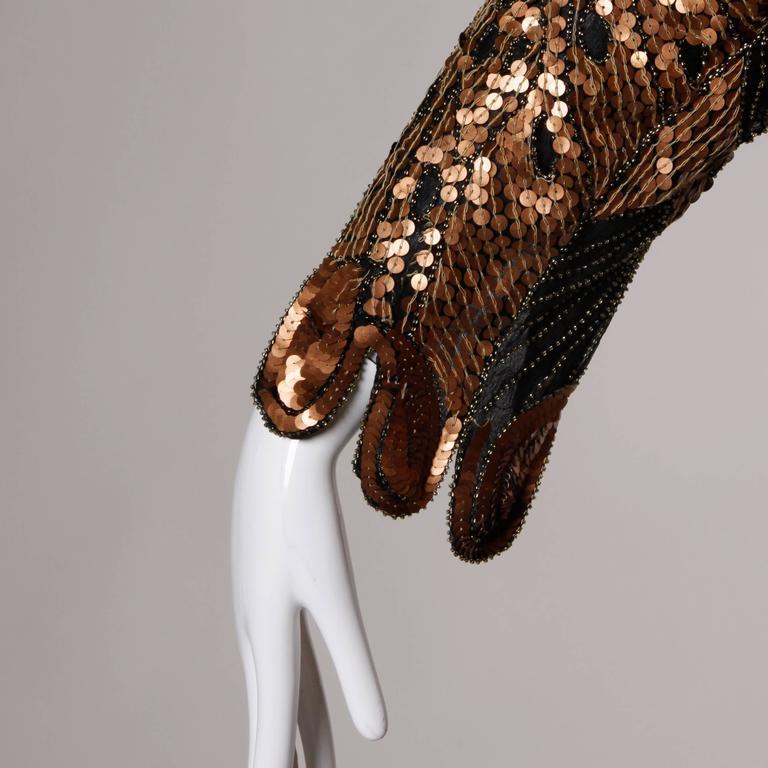 Unworn Vintage Metallic Sequin + Beaded Silk Flapper Dress with Original Tags For Sale 5