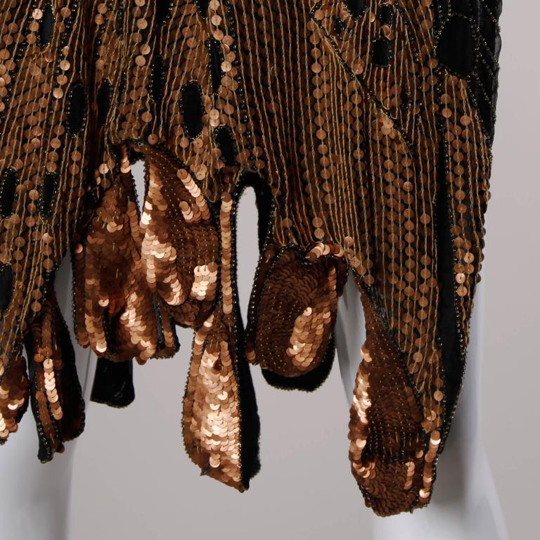 Unworn Vintage Metallic Sequin + Beaded Silk Flapper Dress with Original Tags For Sale 2