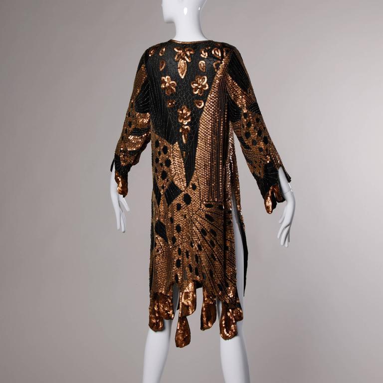 Black Unworn Vintage Metallic Sequin + Beaded Silk Flapper Dress with Original Tags For Sale