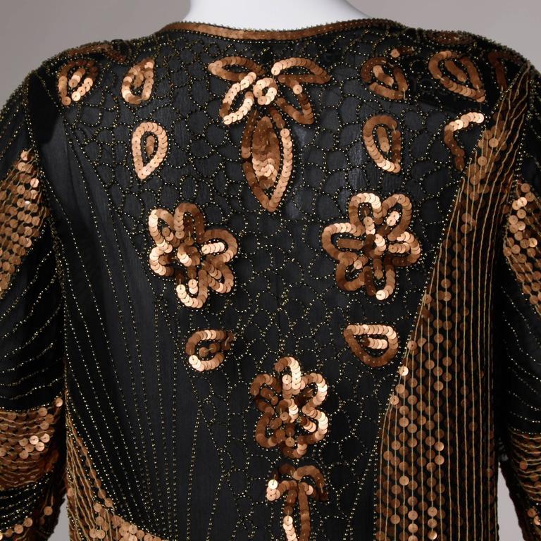 Unworn Vintage Metallic Sequin + Beaded Silk Flapper Dress with Original Tags For Sale 3
