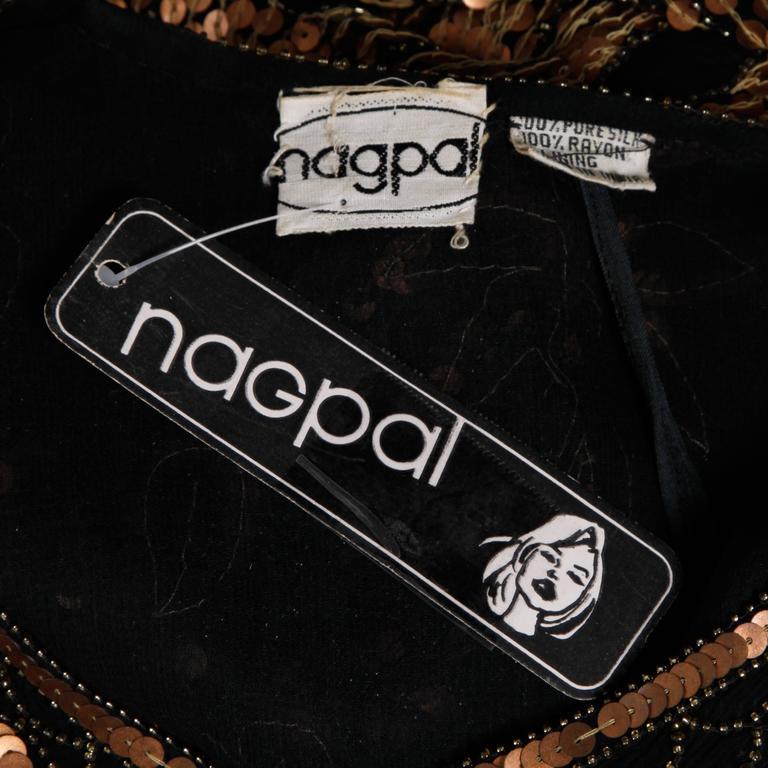 Unworn Vintage Metallic Sequin + Beaded Silk Flapper Dress with Original Tags 4