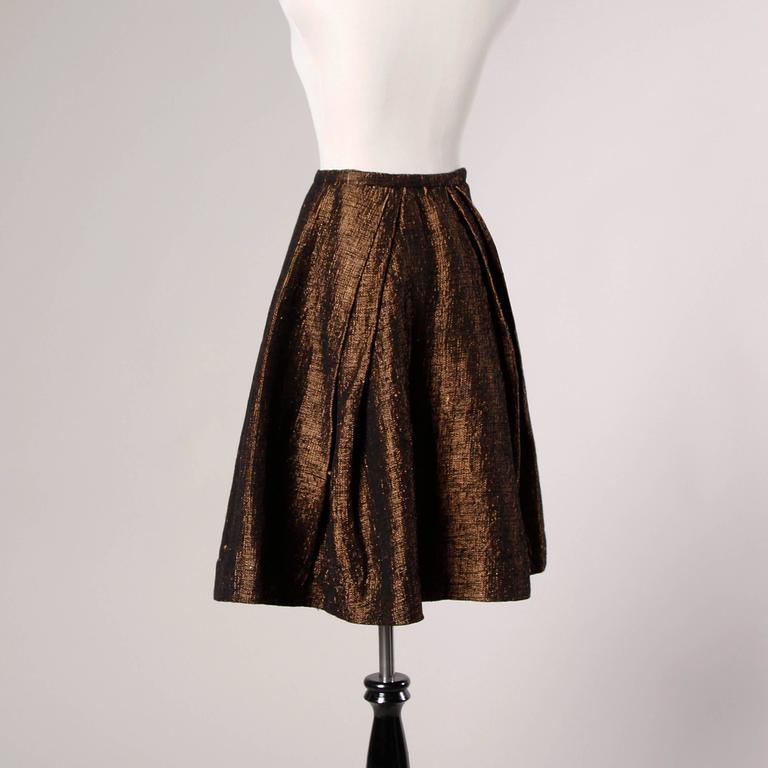 Black 1950s Couture Vintage Silk + Wool Hand Woven Pleated Skirt For Sale
