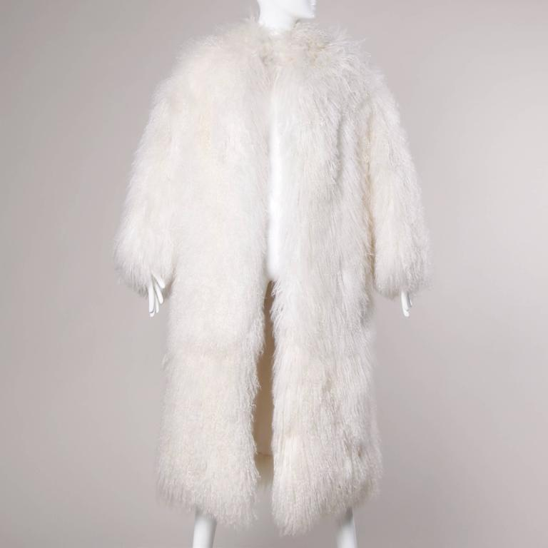 1970s Vintage White Shaggy Mongolian Lamb Fur Full-Length Coat For Sale 1