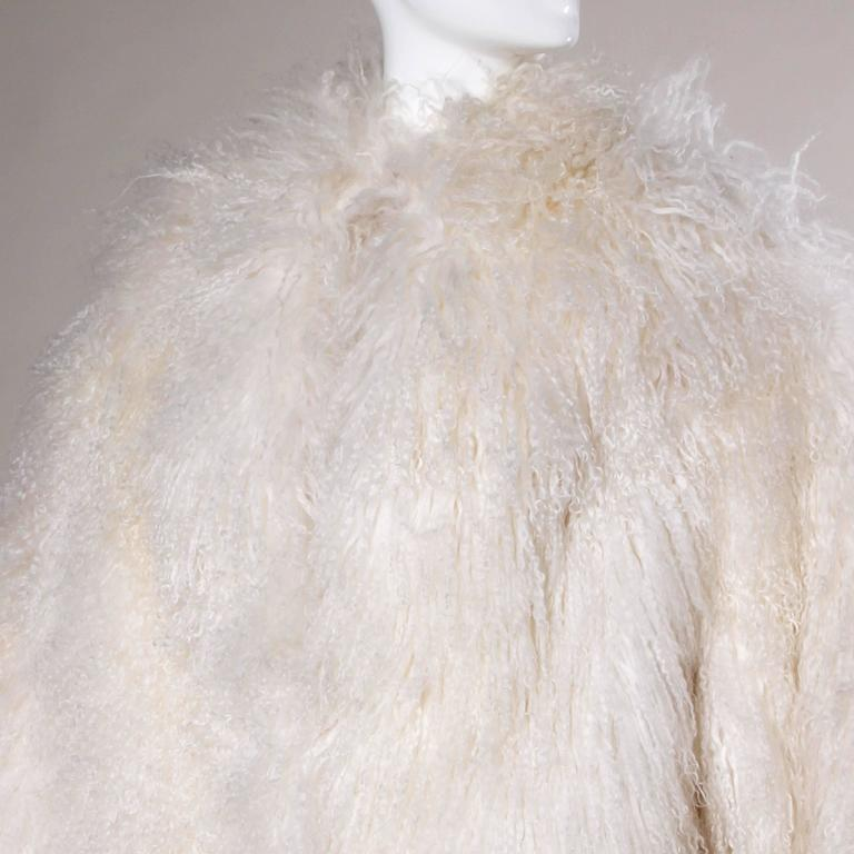 1970s Vintage White Shaggy Mongolian Lamb Fur Full-Length Coat For Sale 2