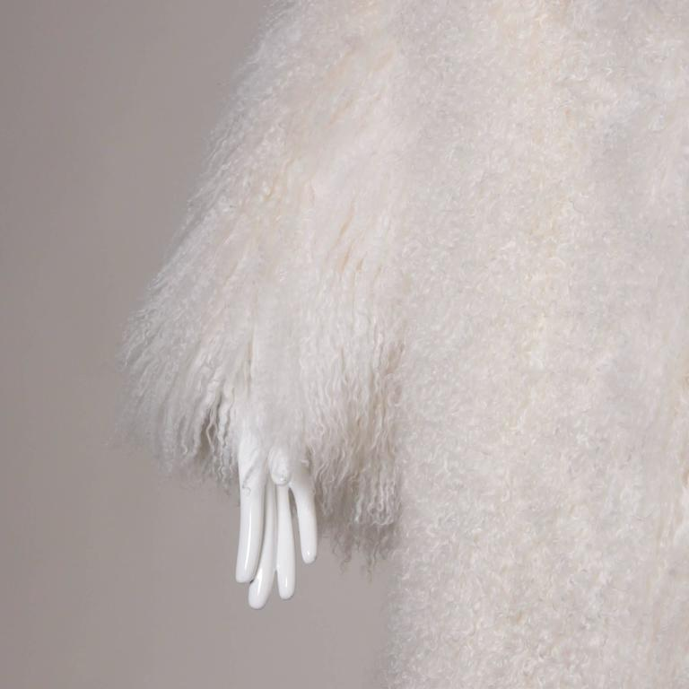 Women's 1970s Vintage White Shaggy Mongolian Lamb Fur Full-Length Coat For Sale