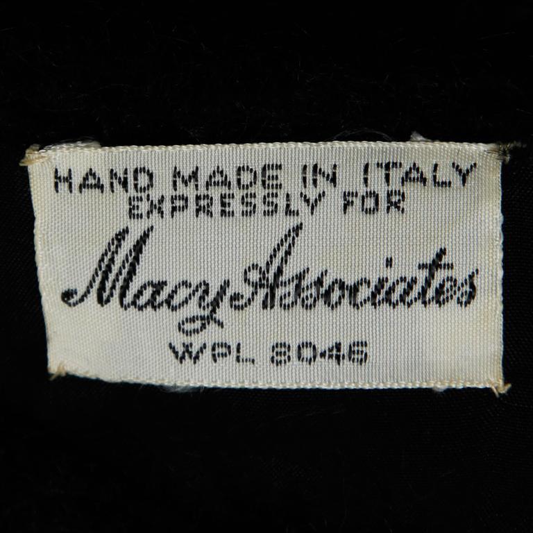 1960s Black Hand Crochet Italian Wool Dress For Sale At