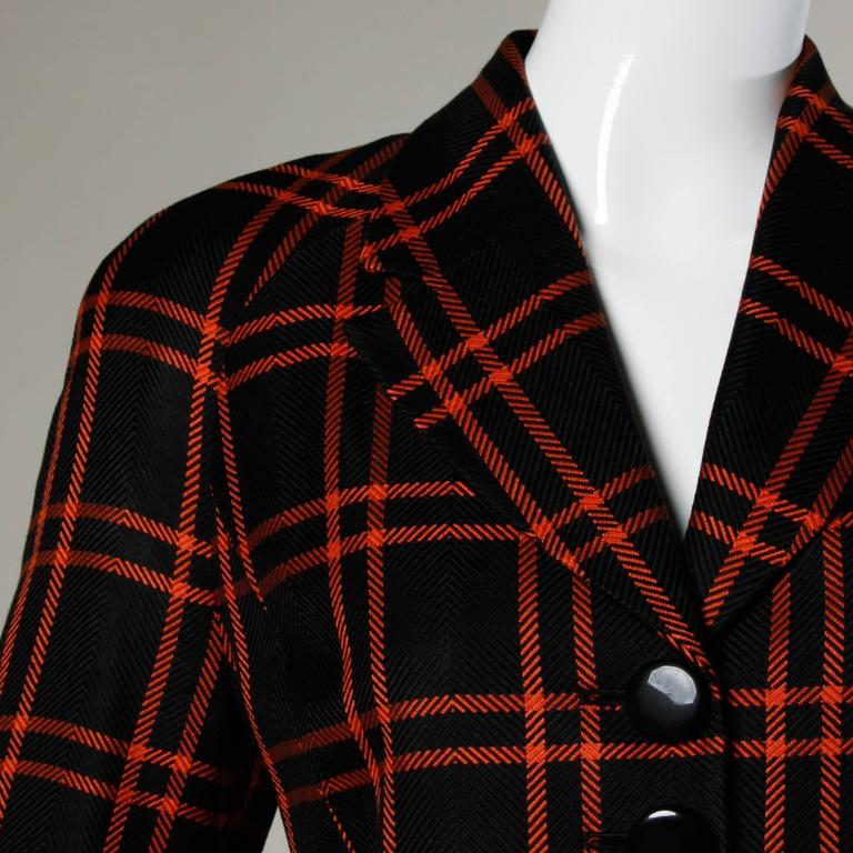Christian Dior Vintage Silk Plaid Blazer Jacket In Excellent Condition For Sale In Sparks, NV